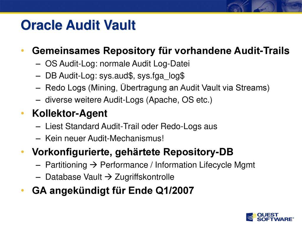 Auditing Was soll wie überwacht werden