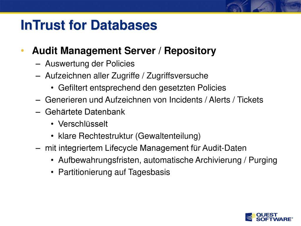 InTrust for Databases Vollständigkeit Verifizierbarkeit