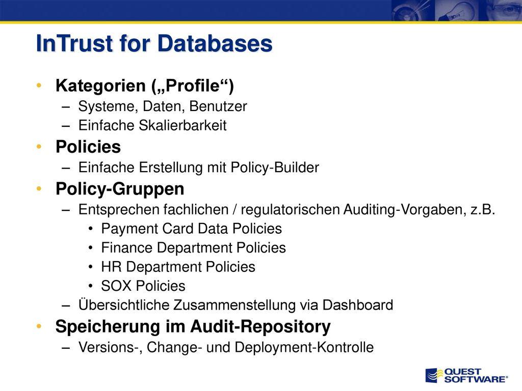 InTrust for Databases – Architektur
