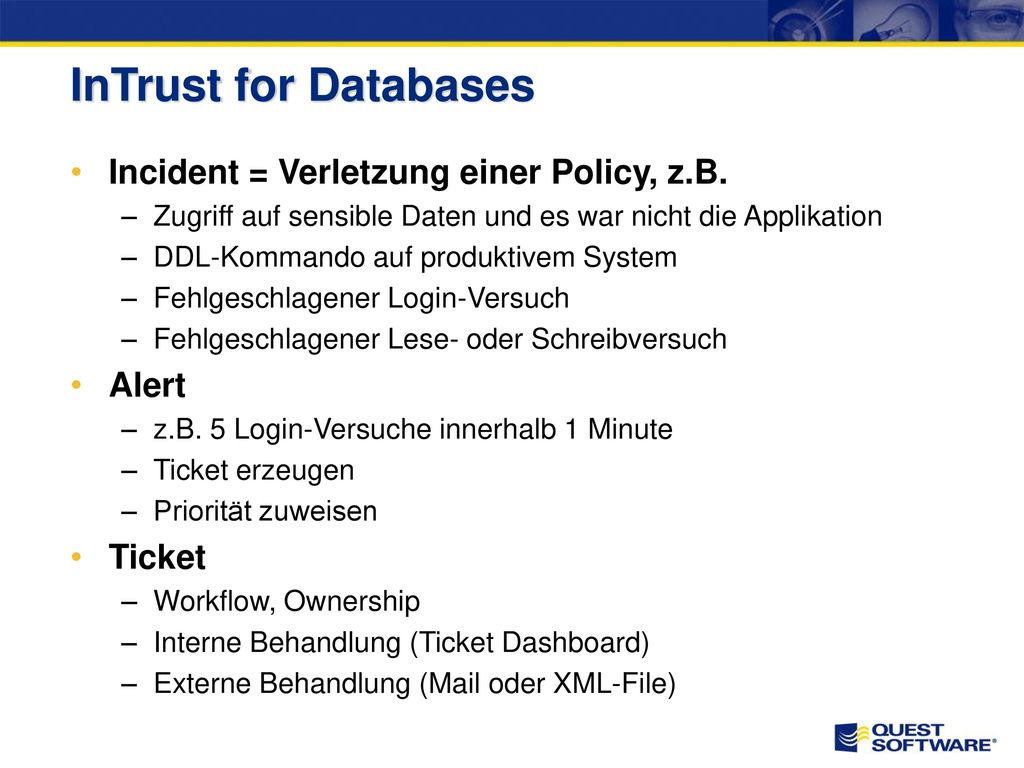 InTrust for Databases – Policy Dashboard