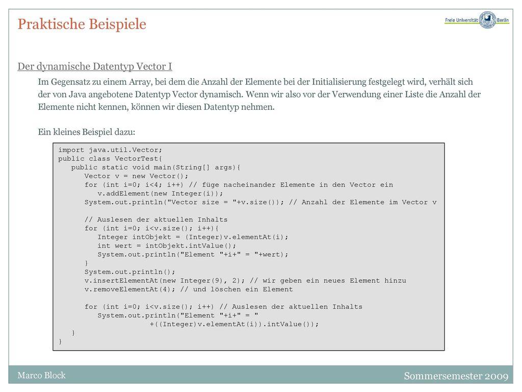 Praktische Beispiele Der dynamische Datentyp Vector I