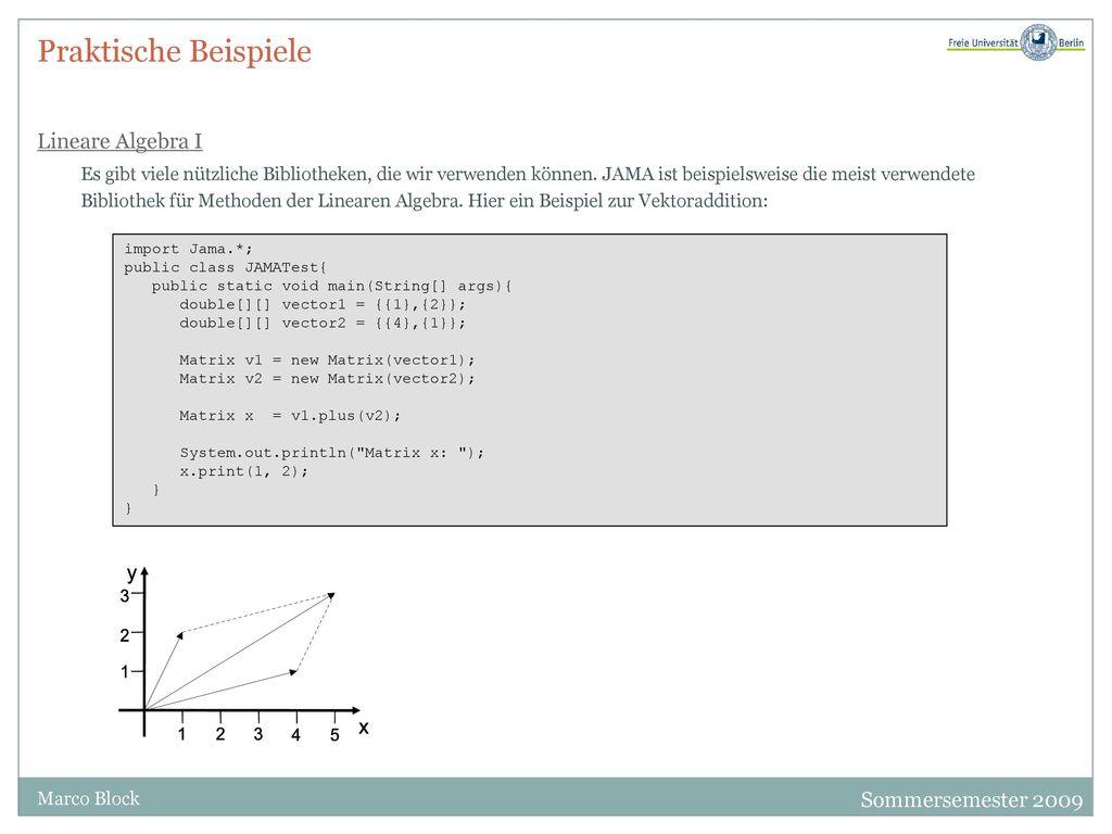 Praktische Beispiele Lineare Algebra I