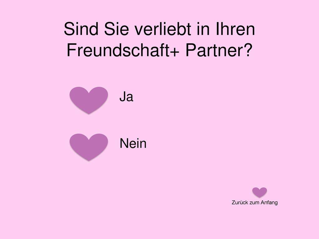 Sind Sie verliebt in Ihren Freundschaft+ Partner