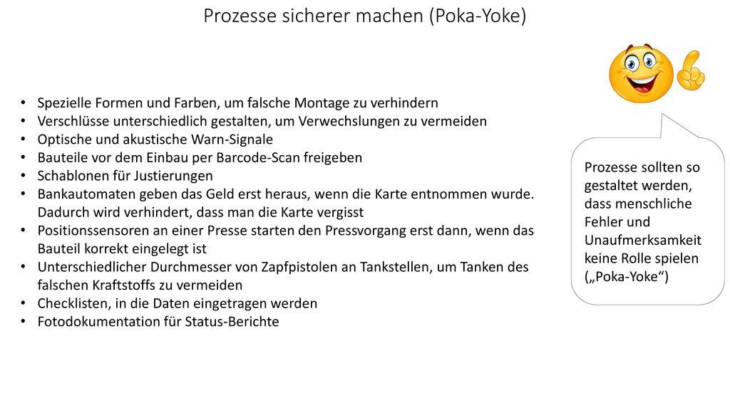 Prozesse sicherer machen (Poka-Yoke)