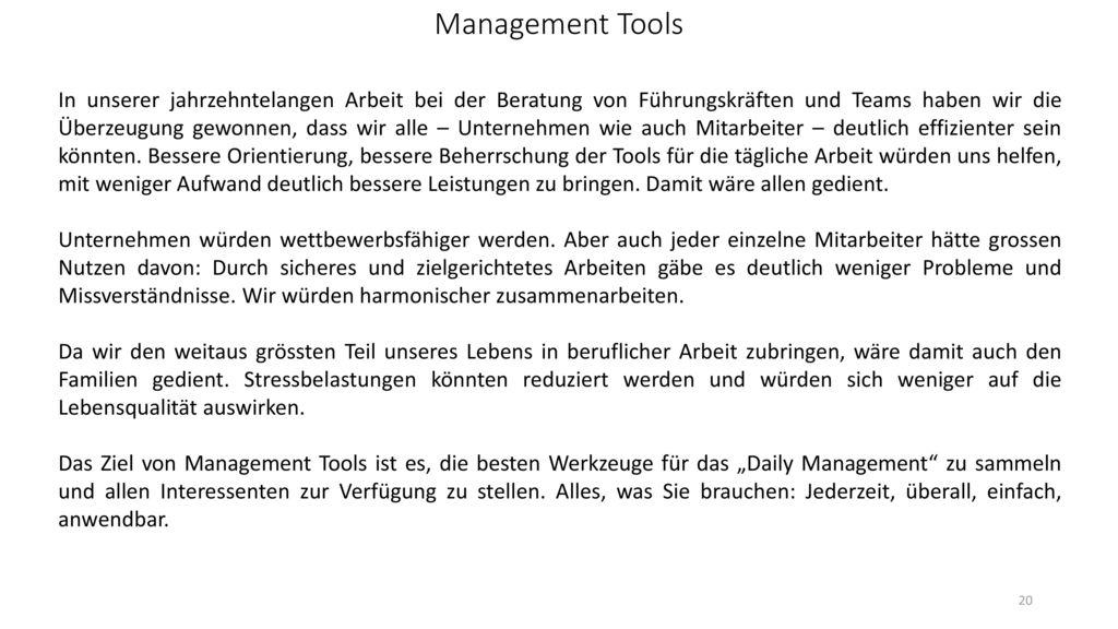 Management Tools