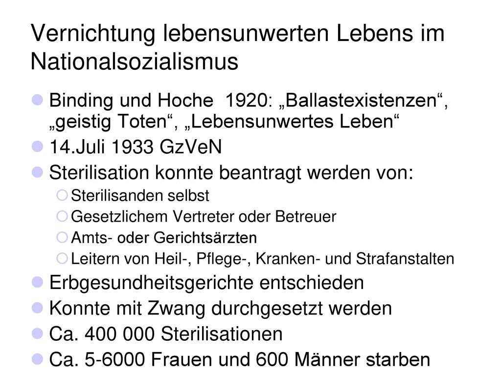 Vernichtung lebensunwerten Lebens im Nationalsozialismus