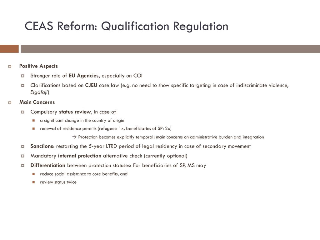 CEAS Reform: Qualification Regulation