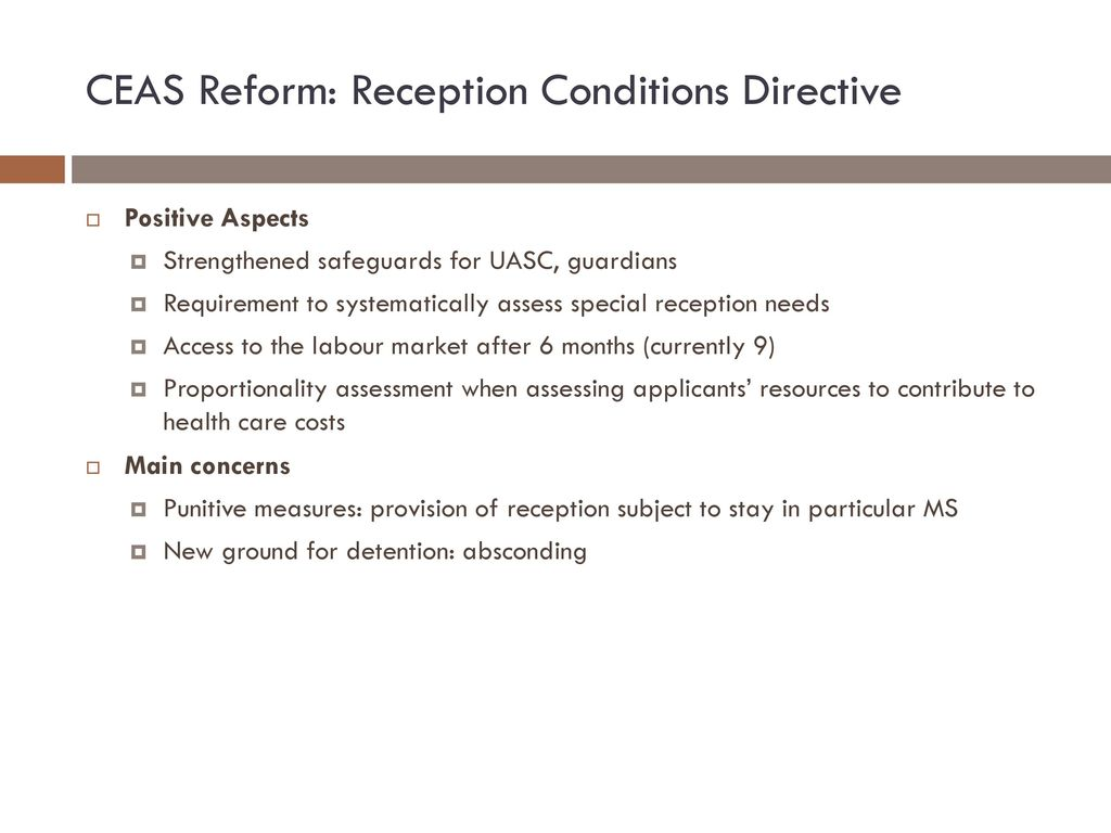 CEAS Reform: Reception Conditions Directive