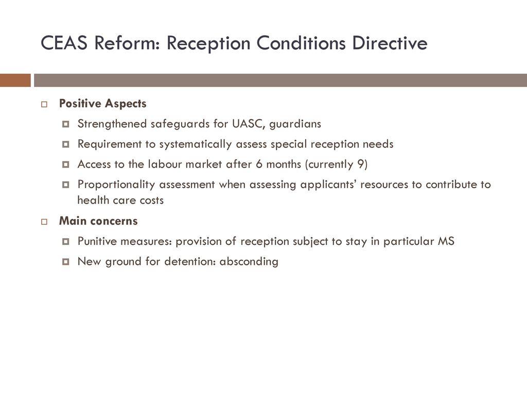 CEAS Reform: Reception Conditions Directive