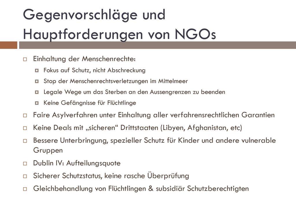 Gegenvorschläge und Hauptforderungen von NGOs