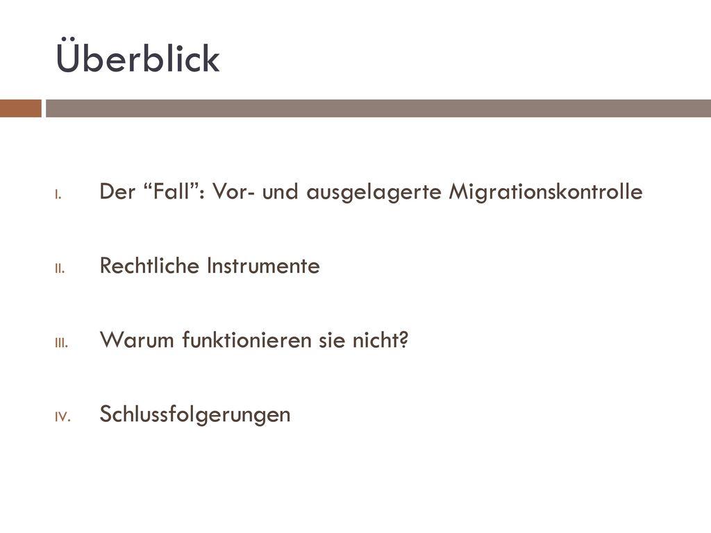 Überblick Der Fall : Vor- und ausgelagerte Migrationskontrolle