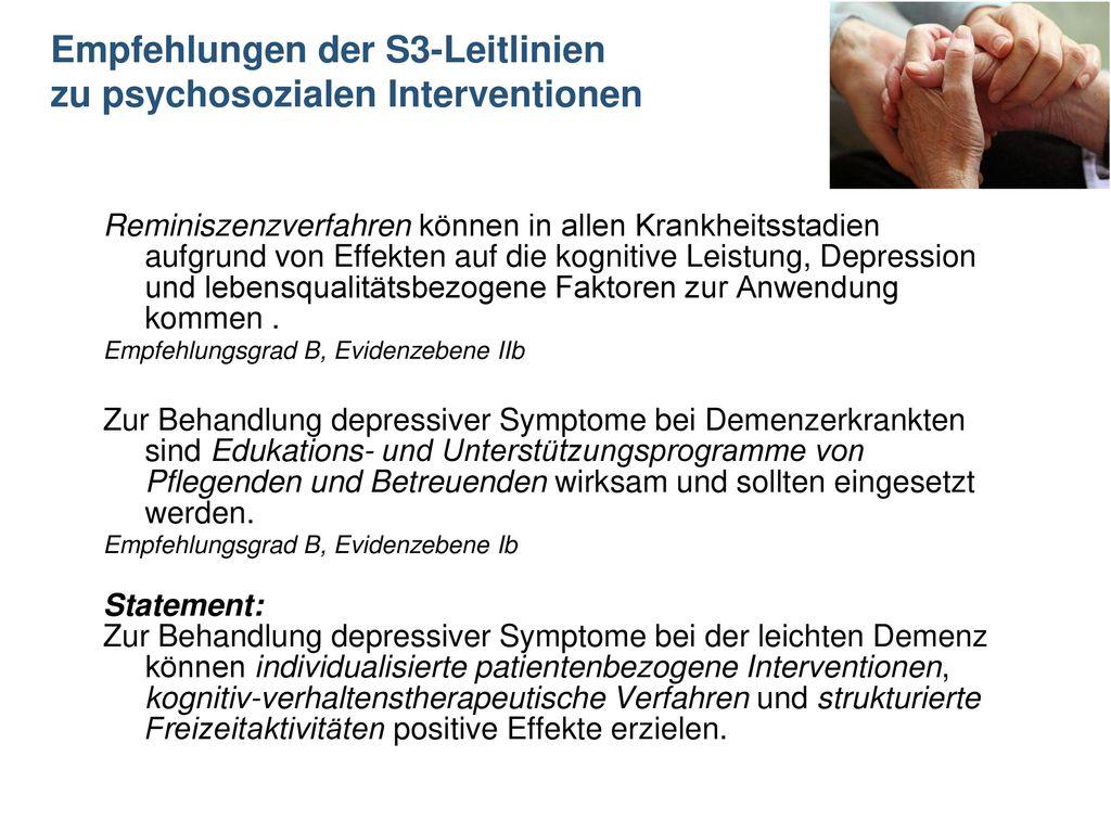 Empfehlungen der S3-Leitlinien zu psychosozialen Interventionen