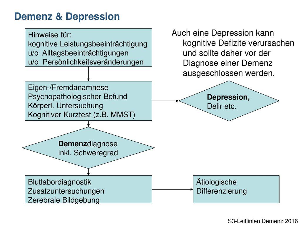 Demenz & Depression Auch eine Depression kann kognitive Defizite verursachen und sollte daher vor der Diagnose einer Demenz ausgeschlossen werden.