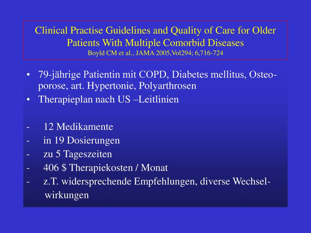 Clinical Practise Guidelines and Quality of Care for Older Patients With Multiple Comorbid Diseases Boyld CM et al., JAMA 2005,Vol294; 6,716-724