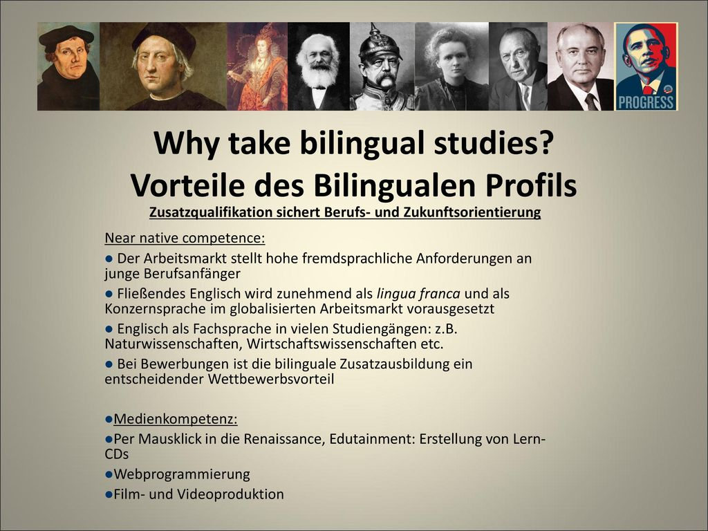 Why take bilingual studies Vorteile des Bilingualen Profils