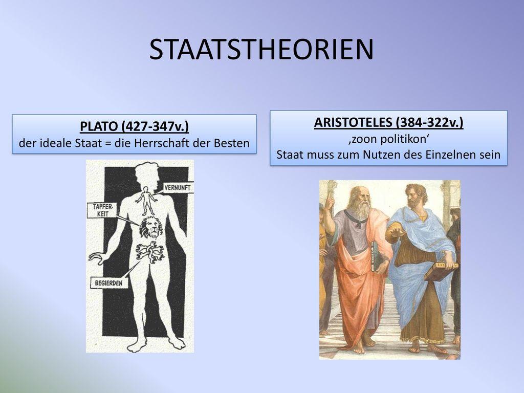 STAATSTHEORIEN ARISTOTELES (384-322v.) PLATO (427-347v.)