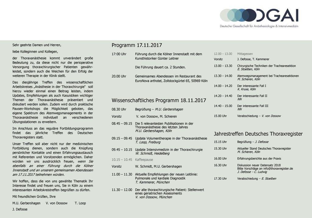 Wissenschaftliches Programm 18.11.2017
