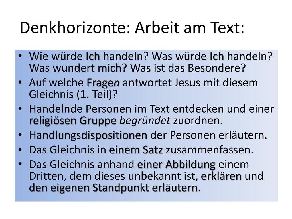 Denkhorizonte: Arbeit am Text: