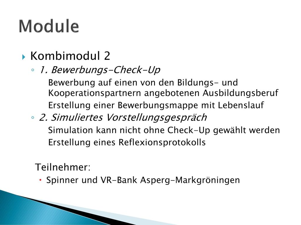Module Kombimodul 2 1. Bewerbungs-Check-Up