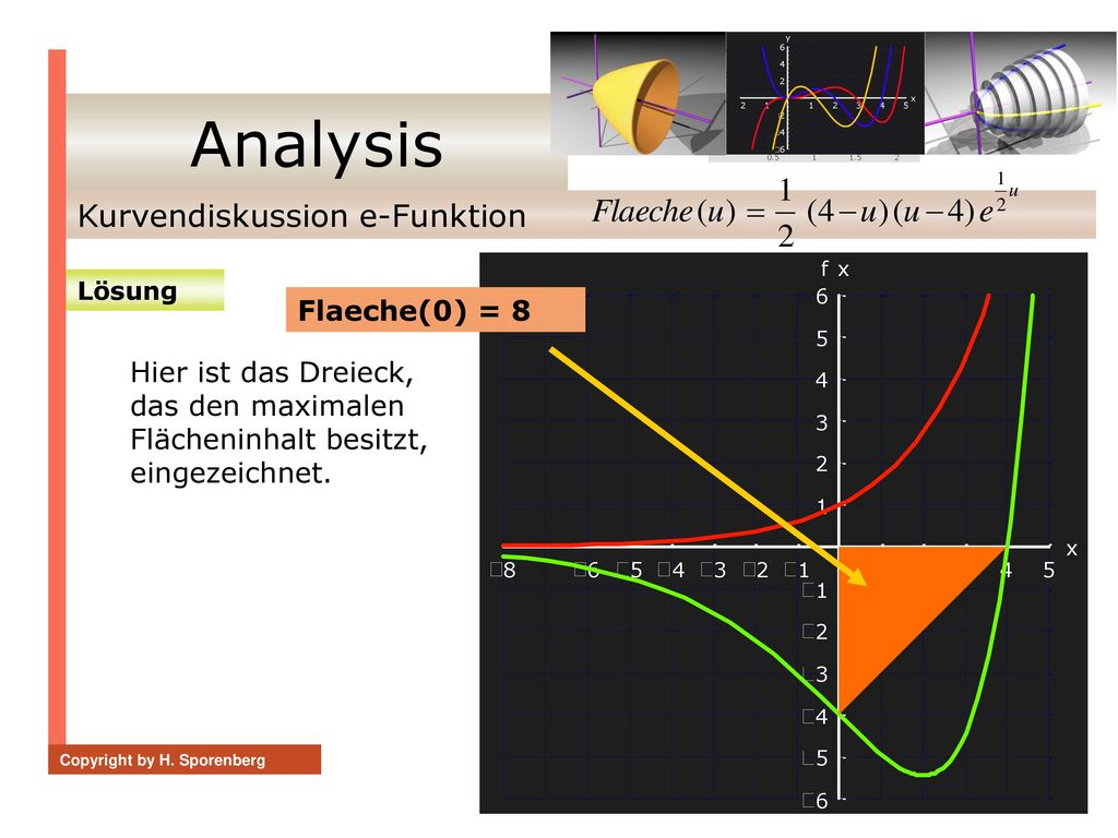 Analysis Kurvendiskussion e-Funktion Flaeche(0) = 8