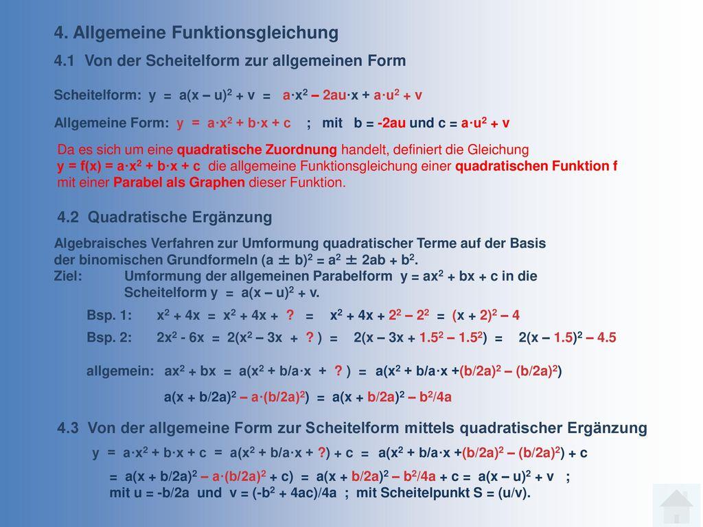 4. Allgemeine Funktionsgleichung