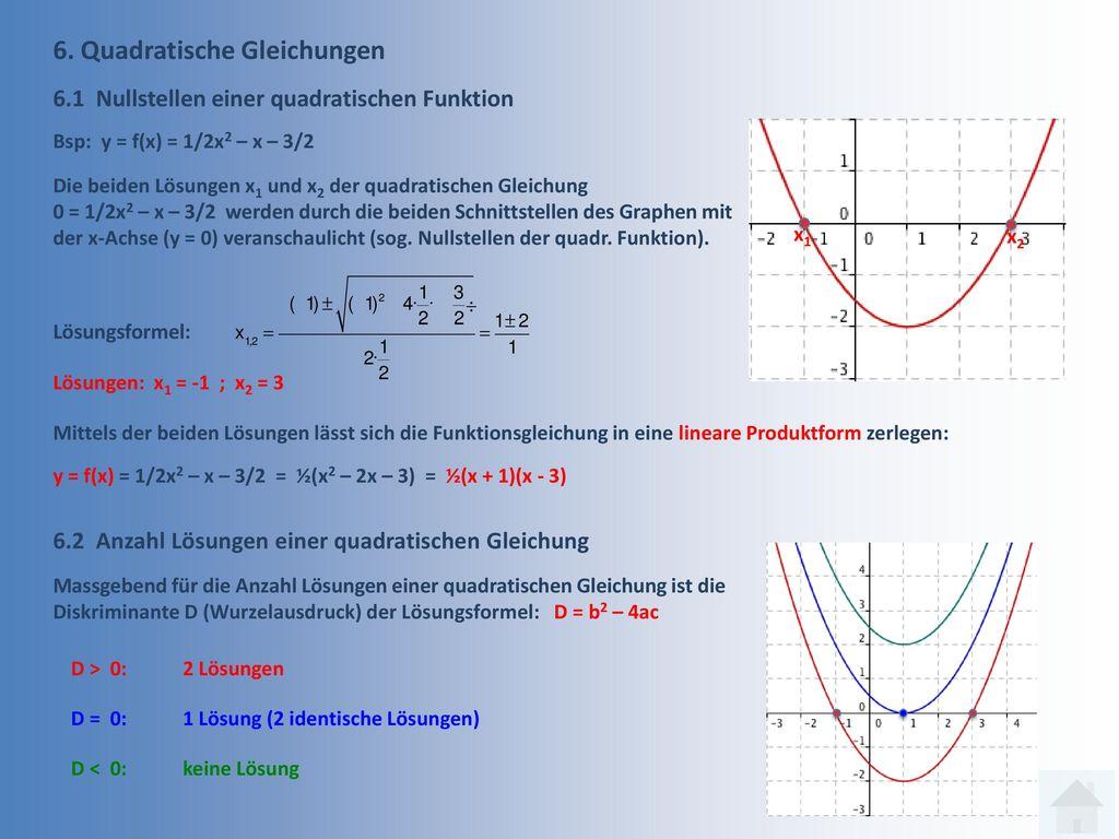 6. Quadratische Gleichungen