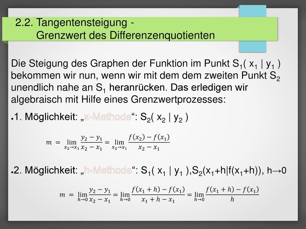 2.2. Tangentensteigung - Grenzwert des Differenzenquotienten
