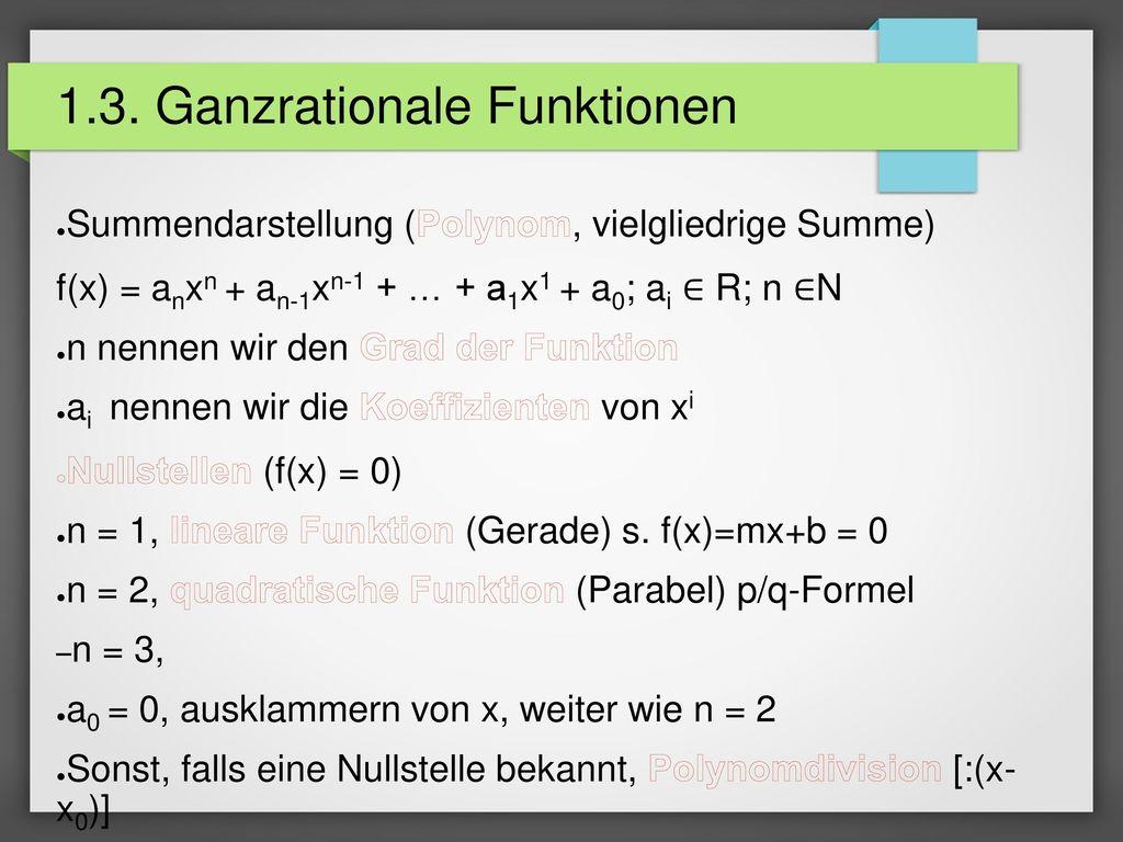1.3. Ganzrationale Funktionen