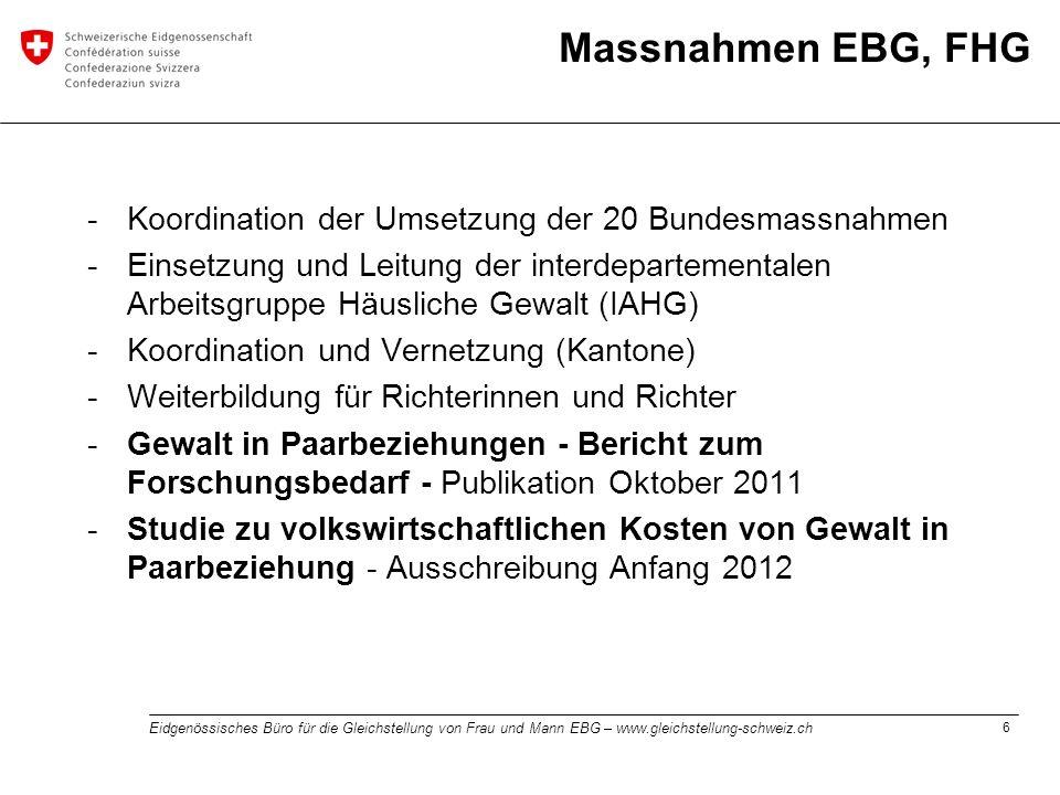 Massnahmen EBG, FHG Koordination der Umsetzung der 20 Bundesmassnahmen