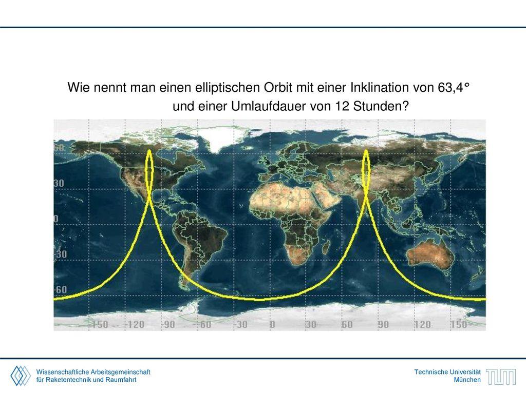 Wie nennt man einen elliptischen Orbit mit einer Inklination von 63,4°