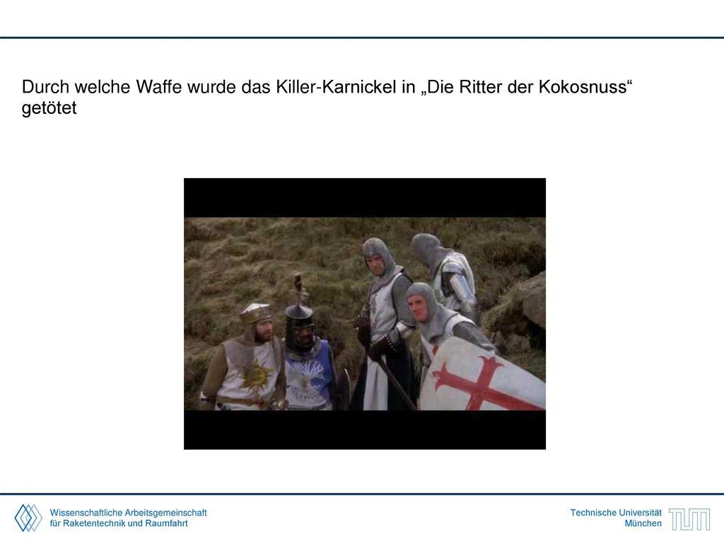 """Durch welche Waffe wurde das Killer-Karnickel in """"Die Ritter der Kokosnuss getötet"""