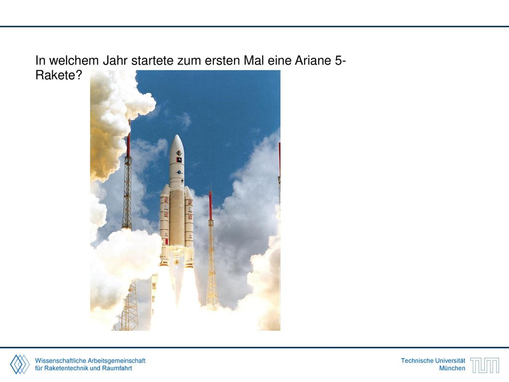 In welchem Jahr startete zum ersten Mal eine Ariane 5-Rakete