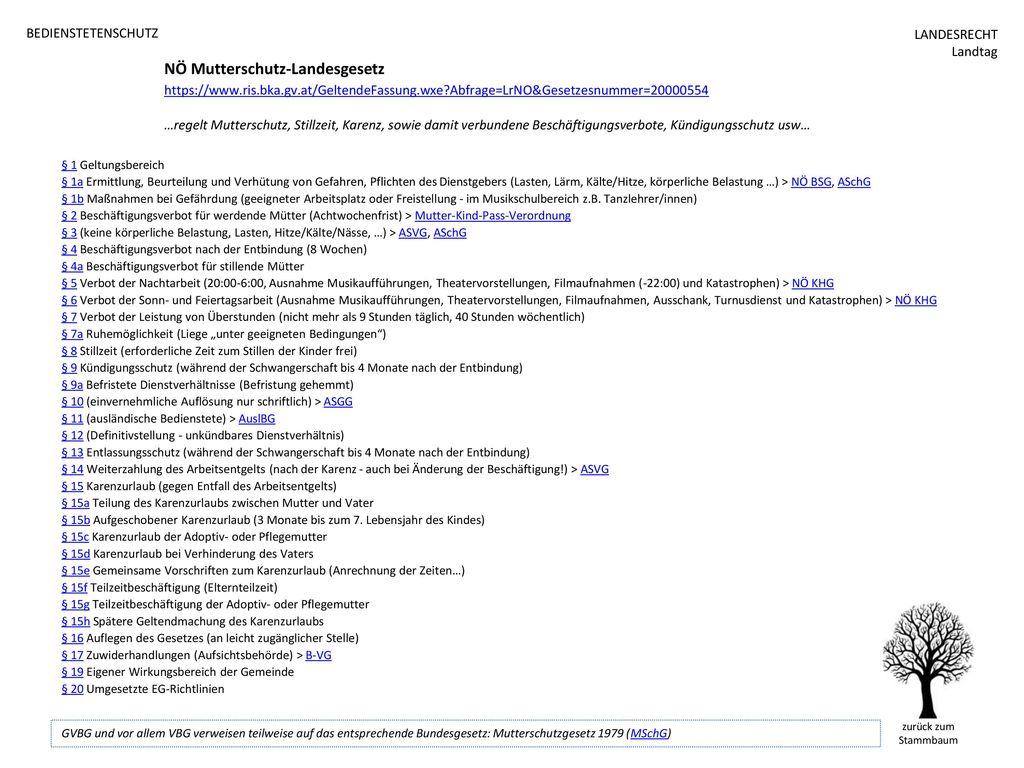 BEDIENSTETENSCHUTZ NÖ Mutterschutz-Landesgesetz https://www.ris.bka.gv.at/GeltendeFassung.wxe Abfrage=LrNO&Gesetzesnummer=20000554.