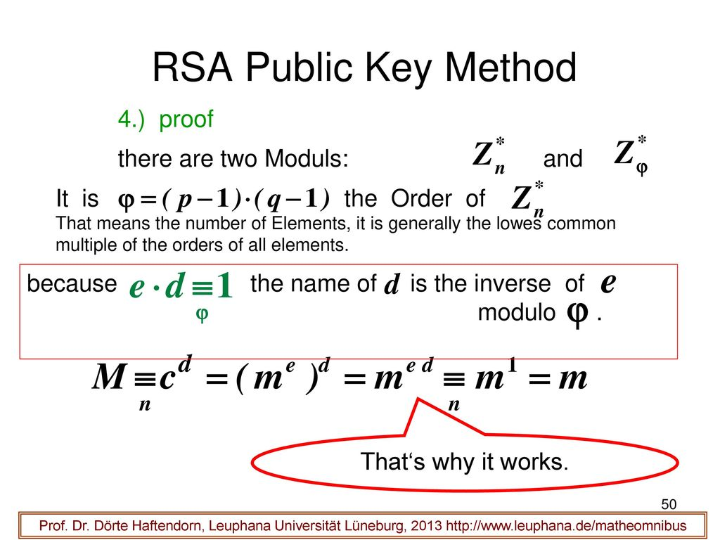 RSA Public Key Method 4.) proof there are two Moduls: and