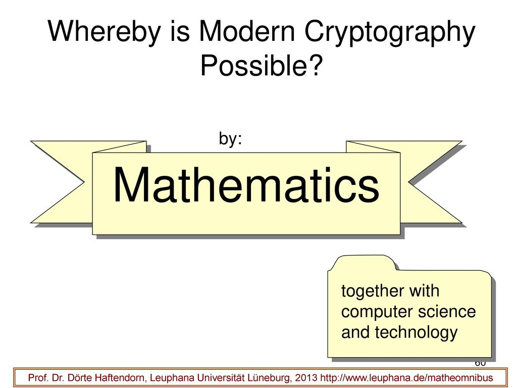Whereby is Modern Cryptography Possible
