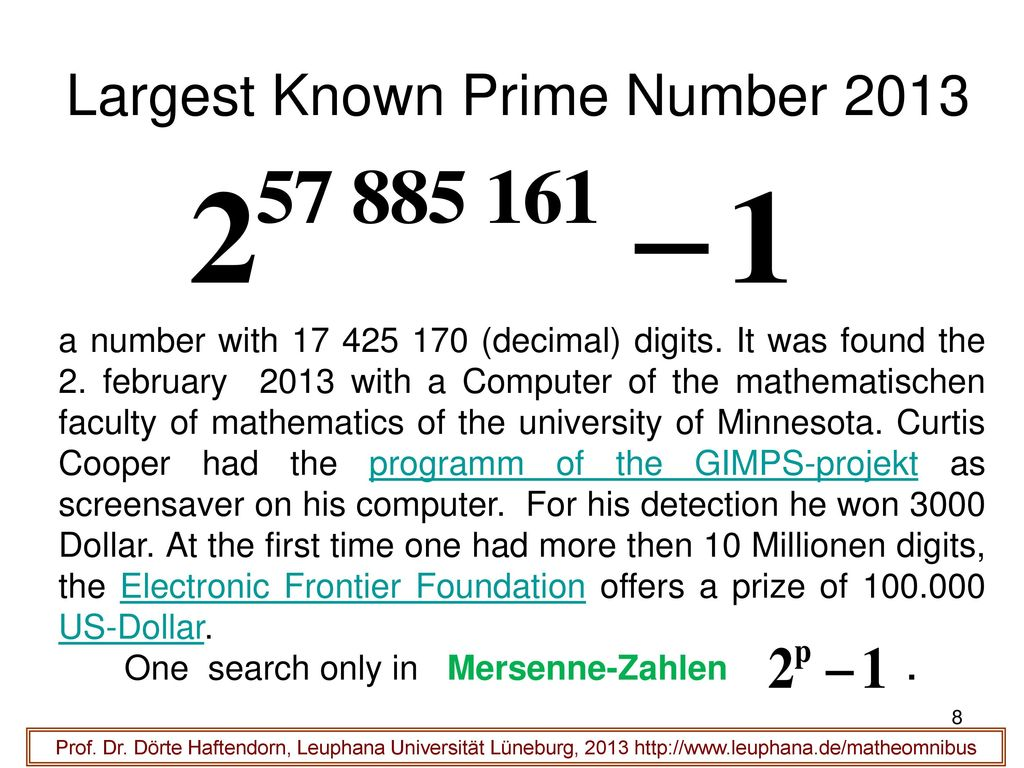 Largest Known Prime Number 2013