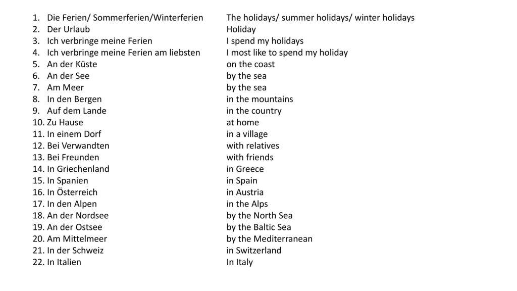 Die Ferien/ Sommerferien/Winterferien