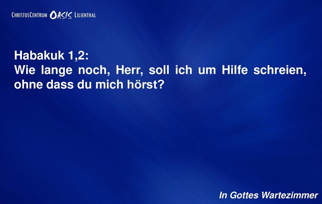 Habakuk 1,2: Wie lange noch, Herr, soll ich um Hilfe schreien, ohne dass du mich hörst.
