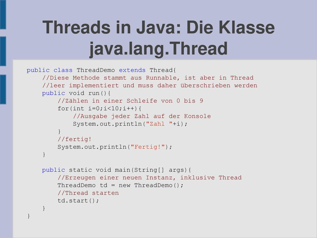 Threads in Java: Die Klasse java.lang.Thread