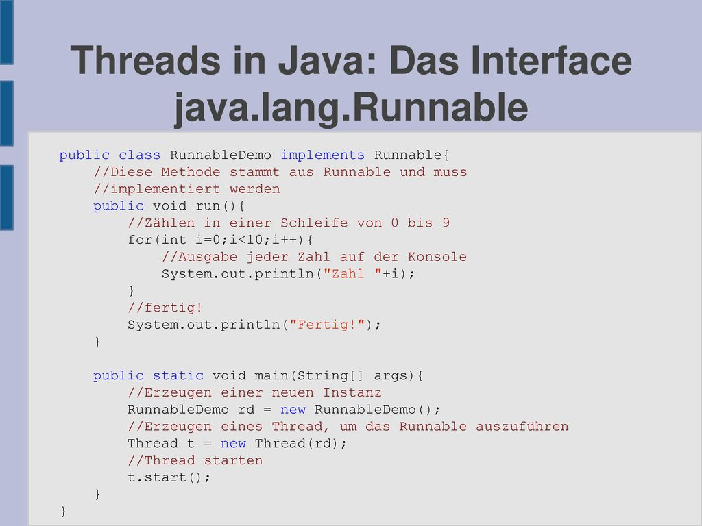 Threads in Java: Das Interface java.lang.Runnable