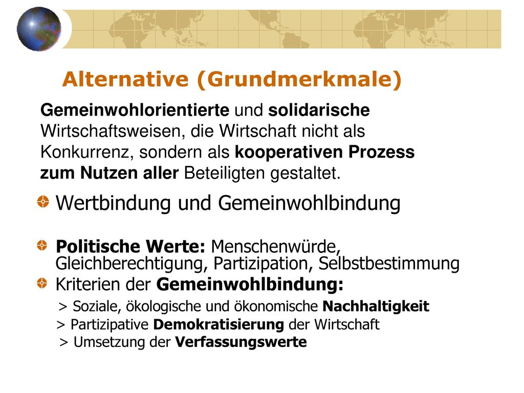 Alternative (Grundmerkmale)