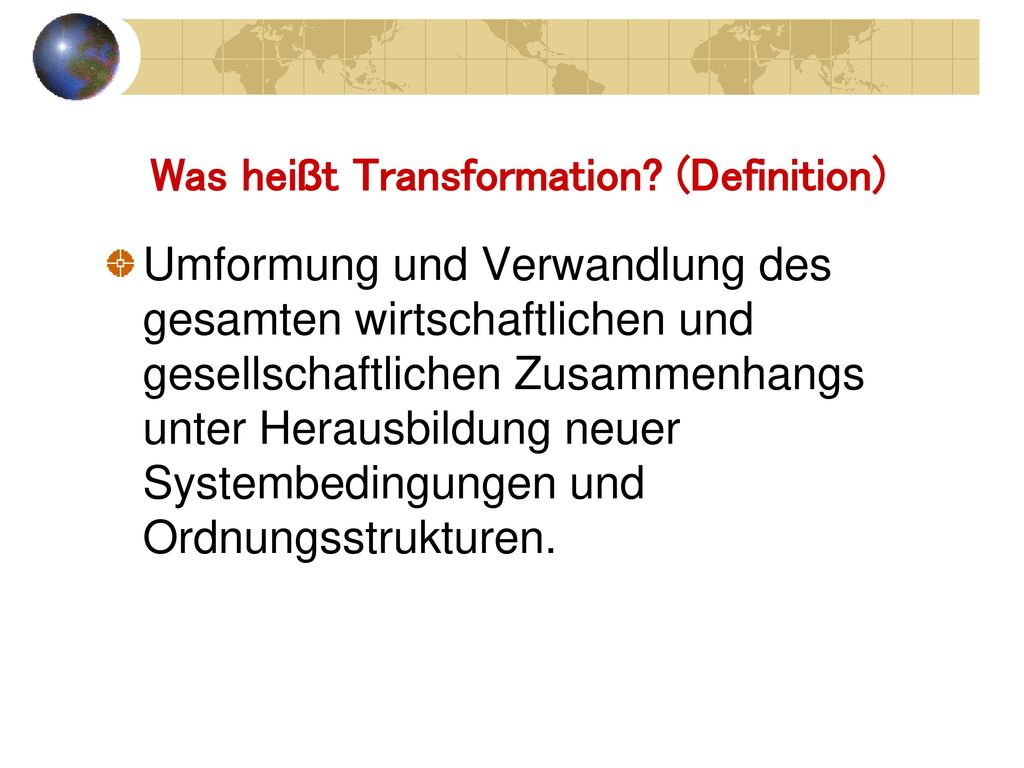 Was heißt Transformation (Definition)