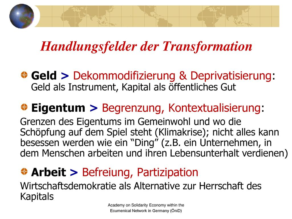 Handlungsfelder der Transformation