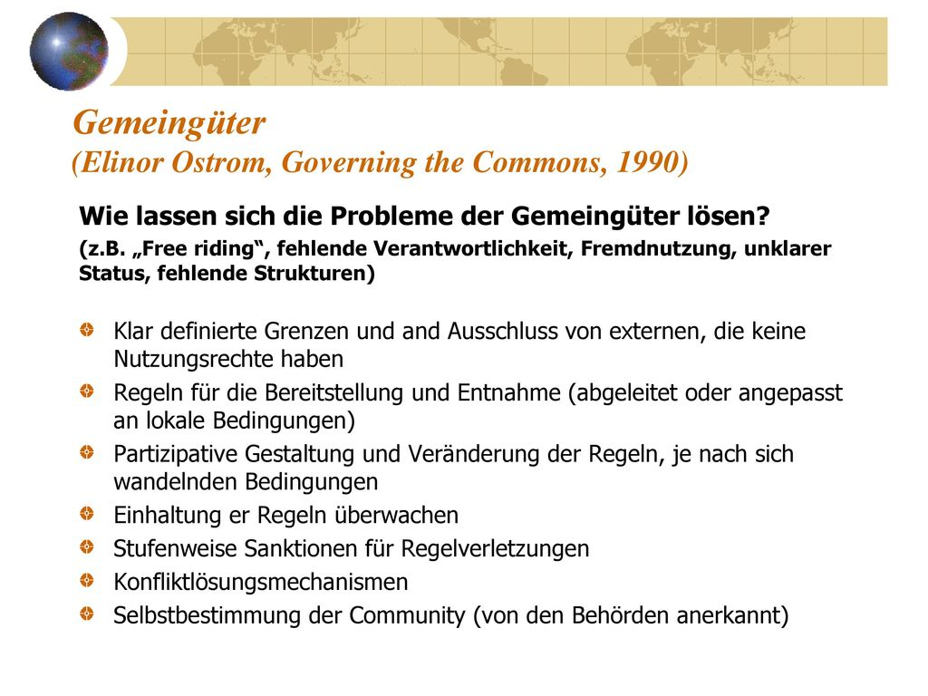 Gemeingüter (Elinor Ostrom, Governing the Commons, 1990)