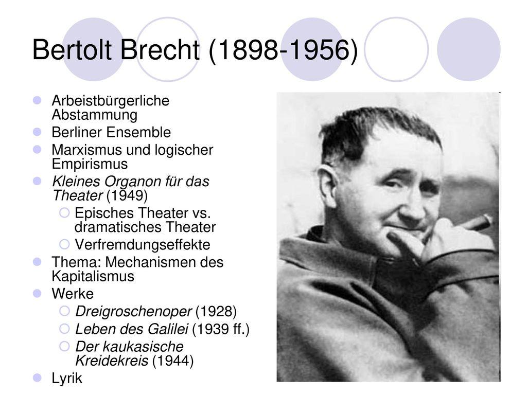 Bertolt Brecht (1898-1956) Arbeistbürgerliche Abstammung