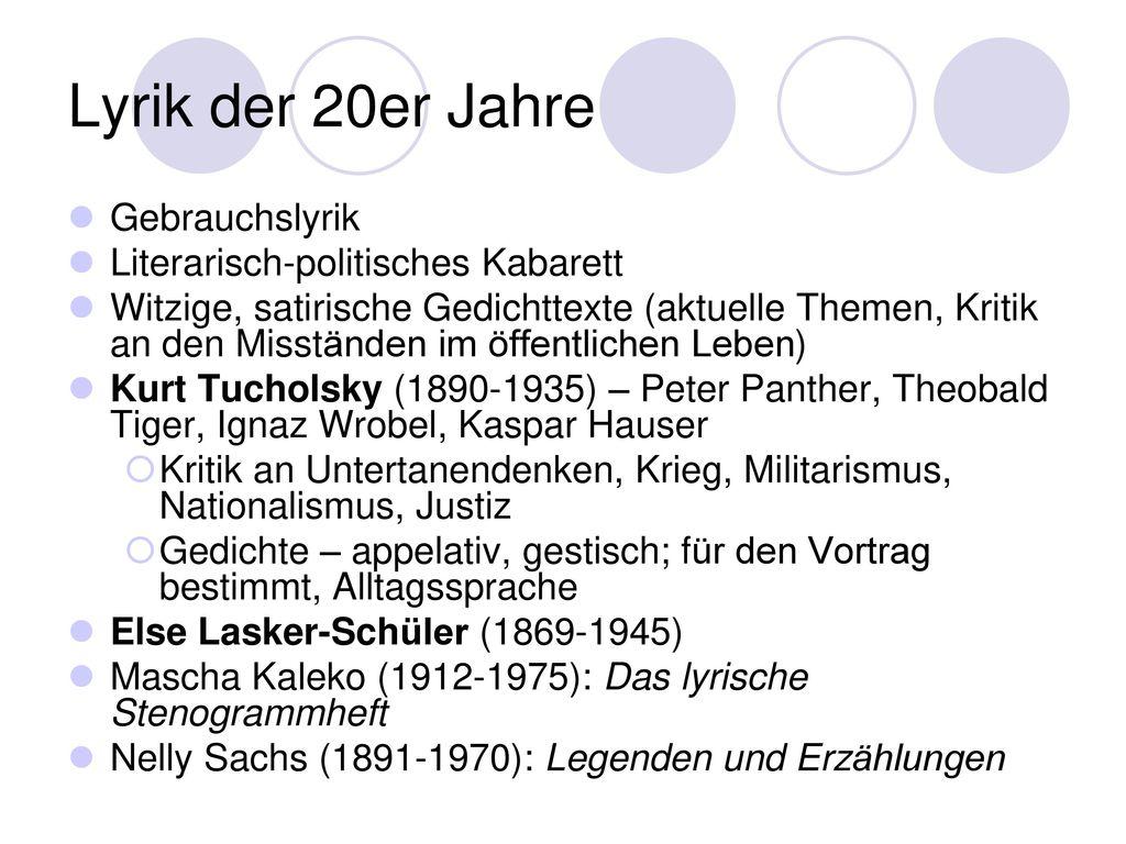 Lyrik der 20er Jahre Gebrauchslyrik Literarisch-politisches Kabarett