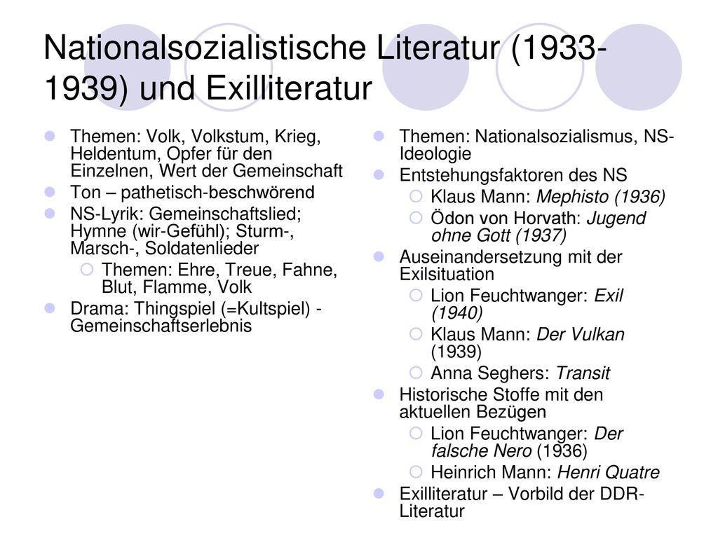 Nationalsozialistische Literatur (1933-1939) und Exilliteratur