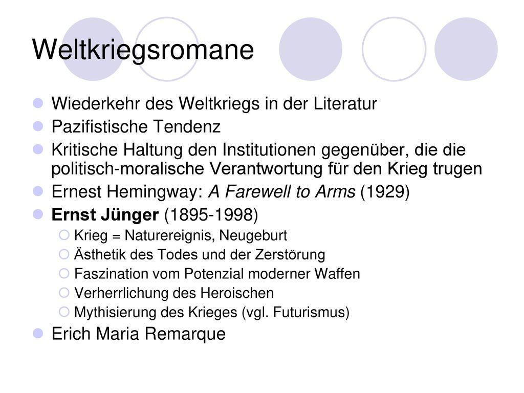 Weltkriegsromane Wiederkehr des Weltkriegs in der Literatur