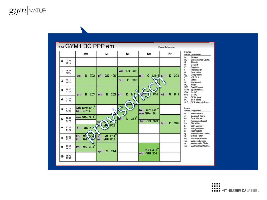 provisorisch Fachlehrpersonen: Fachlehrkräfte Klassenlehrkraft
