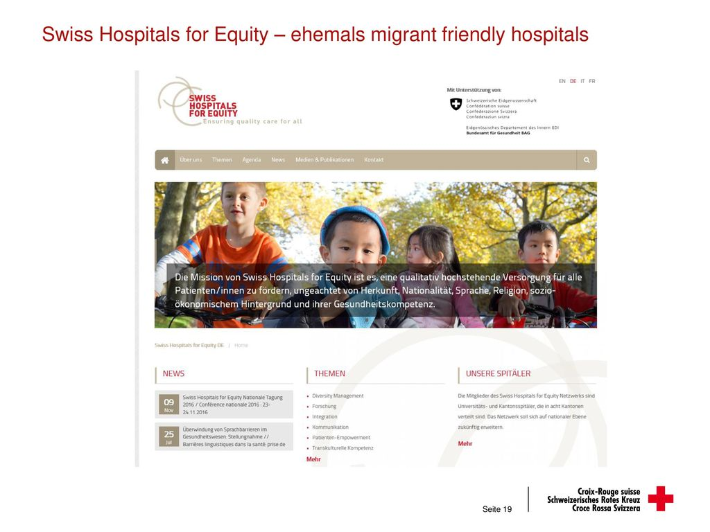 Swiss Hospitals for Equity – ehemals migrant friendly hospitals